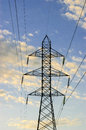 High voltage tower with wires carrying electricity Royalty Free Stock Photos