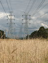 High voltage tower and wires through park land Royalty Free Stock Photo