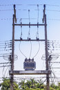 High voltage transformer on the pole Royalty Free Stock Photo
