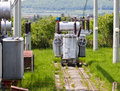 High voltage transformer station Stock Images