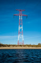 High voltage transmission tower and lines