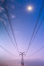 High voltage under the blue sky Royalty Free Stock Photography