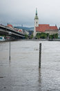 High water on the danube river in slovakia bratislava june level of bratislava exceeded centimetres june which triggered a third Royalty Free Stock Photo