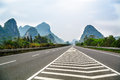 High way the go through in the mountain of guilin Royalty Free Stock Image