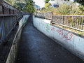 High wycombe uk november urban underpass towards sw pedestrian with graffitti in town Royalty Free Stock Photos