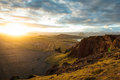 Highand at sunset in iceland Royalty Free Stock Photo