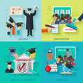 Higher Education Flat Set Royalty Free Stock Photo