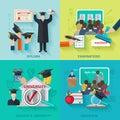 Higher Education Flat Set Royalty Free Stock Photo