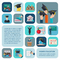 Higher Education Icons Flat Royalty Free Stock Photo