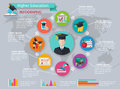Higher education infographics with studying and graduation symbols vector illustration Royalty Free Stock Photos