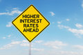 Higher interest rates roadsign of ahead against blue sky Royalty Free Stock Photo