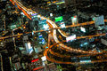Highest Aerial view of Bangkok Highway Cityscape Stock Photography