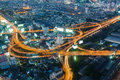 Highest Aerial view of Bangkok Highway interchanged Royalty Free Stock Photo