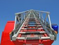 Highest platform of a fire truck during a practice session in the firehouse Royalty Free Stock Image