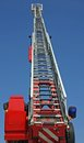 Highest platform fire truck practice session firehouse Royalty Free Stock Photos