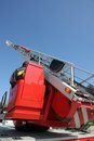 Highest platform fire truck practice session firehouse Stock Image