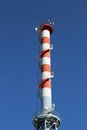 Highest smokestack with antennas red and white the for the transmission of signals Stock Images