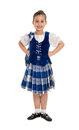 Highland dancer in celtic tartan irish girl poses recital costume Royalty Free Stock Photography