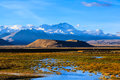 Highland with snow mountain near old tingri town tibet Stock Photo