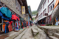 Highland village Namche Bazar in Khumbu region Royalty Free Stock Photo