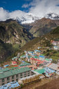 Highland village Namche Bazar in Khumbu region Royalty Free Stock Photo