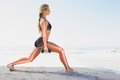Highlighted bones of exercising woman digital composite Stock Images