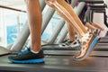 Highlighted bones of man on treadmill digital composite Stock Photos