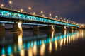 Highlighted bridge at night warsaw Royalty Free Stock Photo