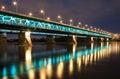Highlighted bridge at night Royalty Free Stock Photo