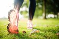 Highlighted foot bones of jogging woman Royalty Free Stock Photo