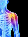 Highlighted shoulder joint d rendered illustration painful Stock Images