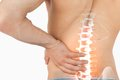 Highlighted spine pain of man digital composite Royalty Free Stock Image
