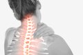 Highlighted spine of woman with neck pain digital composite Stock Images