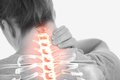 Highlighted spine of woman with neck pain digital composite Royalty Free Stock Photo