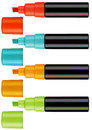 Highlighter pens colorful text with clipping work path Royalty Free Stock Photo
