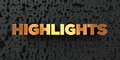 Highlights - Gold text on black background - 3D rendered royalty free stock picture
