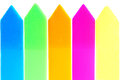 Highlihters colorful paper arrow highlighters isolated on white Stock Photo
