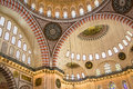 Highly decorated mosque interior Royalty Free Stock Photo