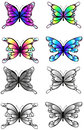 Highly detail illustration of silhouette butterflies set, create