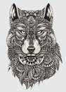 Highly detailed abstract wolf illustration Royalty Free Stock Photo