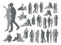 Highly detailed couple silhouettes high quality of a young in various poses Royalty Free Stock Image