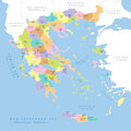 Highly detailed political map of Greece, vector.