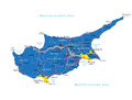 Highly detailed vector map of cyprus with administrative regions main cities and roads Stock Images