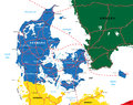 Highly detailed vector map denmark administrative regions main cities roads Stock Image