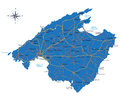 Highly detailed vector map of majorca with administrative regions main cities and roads Stock Image