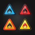 Highly flammable warning symbols Royalty Free Stock Photo