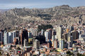 Highrise buildings dominate the spectacular La Paz skyline in Bolivia. Royalty Free Stock Photo