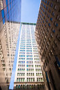 Highrise buildings in wall street financial district new york city usa Royalty Free Stock Photos