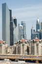 Highrise and lowrise in dubai apartments tower above apartments central Royalty Free Stock Photography