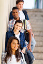 Highschool girls boys group of and standing by corridor Royalty Free Stock Image